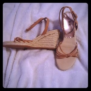 Leather Espadrilles Wedges Size 6